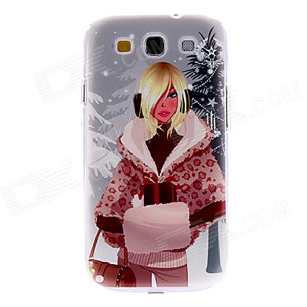Kinston Winter Girl Pattern Hard Case for Samsung Galaxy S3 i9300 - Dark Grey + Red kinston colorful flowers and butterflies pattern plastic protective case for samsung galaxy s3 i9300