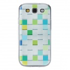 Kinston Grid Pattern Hard Case for Samsung Galaxy S3 i9300 - White + Green