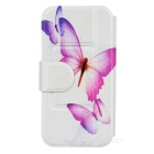 Kinston Purple Butterfly Drawing Pattern PU Leather Cover Pouches for Samsung Galaxy S4 i9500