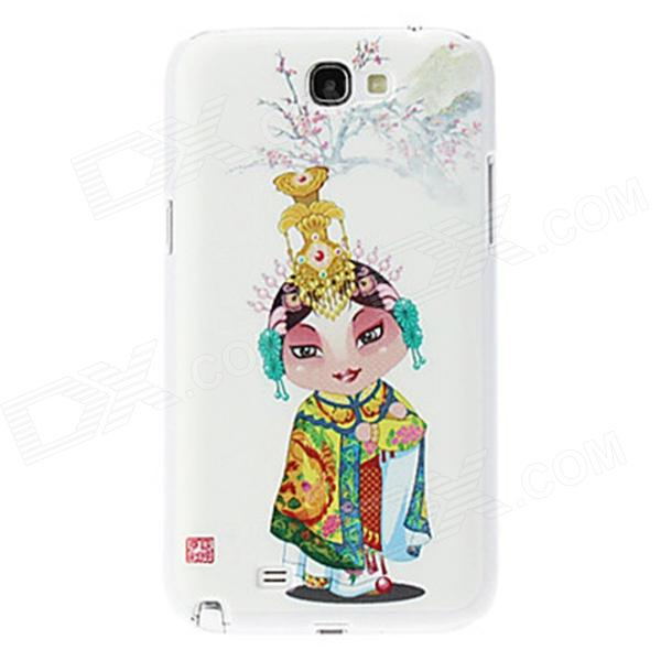 Kinston Peking Opera Girl Pattern Hard Case for Samsung Galaxy Note 2 N7100 - White + Yellow