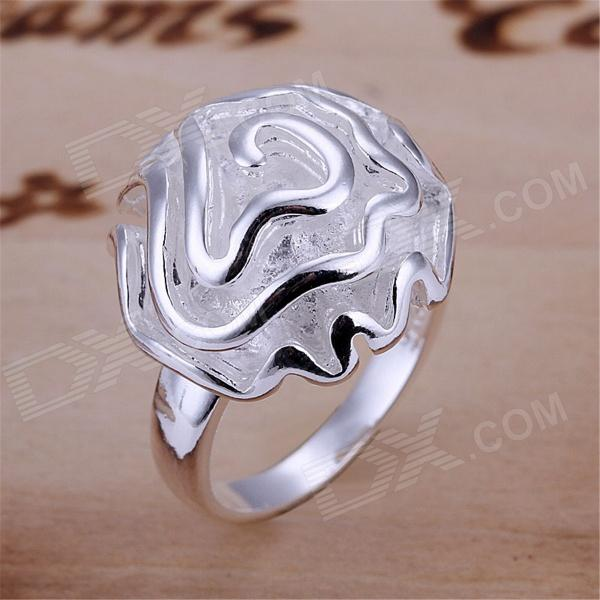 Rose Shaped Silver Plated Finger Ring (US Size 10)