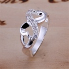 8 Shaped Finger Ring - Silver (US Size 10 )