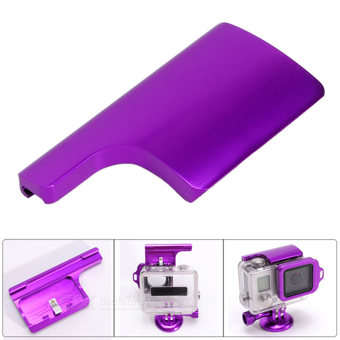 Fat Cat Aluminum Alloy Back Door Clip Safety Lock for GoPro Hero 3+ Dive Skeleton Housing - Purple rs 01 multifunctional safety bendy door drawers lock for kids white transparent 2pcs