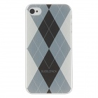 Kinston kst00045 Grid Pattern Protective Plastic Hard Back Case for IPHONE 4 / 4S - White + Black
