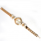 Women's Fashionable Round Rhonestone Studded Analog Quartz Bracelet Watch - Golden + White
