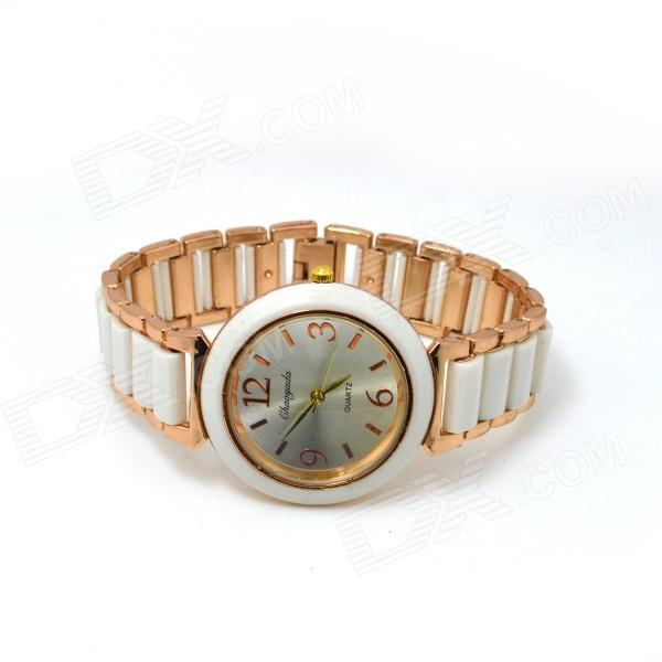 Women's Fashionable Round Dial Analog Quartz Bracelet Watch - Golden + White collins picture atlas