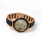 Women's Fashionable Round Dial Analog Quartz Bracelet Watch - Golden + Black