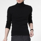 FENL 111-2 Men's High Collar Fashion Slim Long-sleeved Tees - Black (Size S)