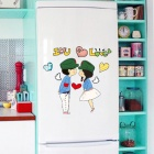 Romantic Couple Bedroom Wall Sticker - Green + Blue + White (45 x 30 x 0.3cm)