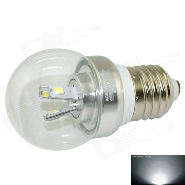 Marsing M-Q006 E27 3W 280lm 6500K 6-SMD 5730 LED White Light Bulb - Silver (AC 85~265V) lexing lx lzd 3 e14 3w 200lm 7000k 6 smd 5730 led white light bulb 85 265v