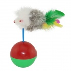 EasyCat EC-008 Rabbit Hair Plastic + Feather Mouse Style Ball Tumbler Pet Cat Toy - Red + Green