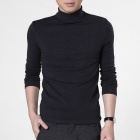 FENL Men's High Collar Fashionable Slim Long-sleeved Tees - Dark Grey (Size M)