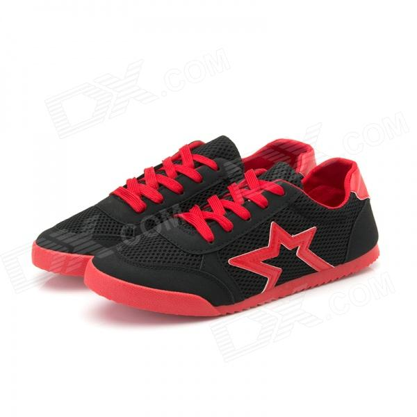 Men's Fashionable Casual Lightweight Breathable Mesh Cloth Shoes - Black + Red (EUR Size 43)