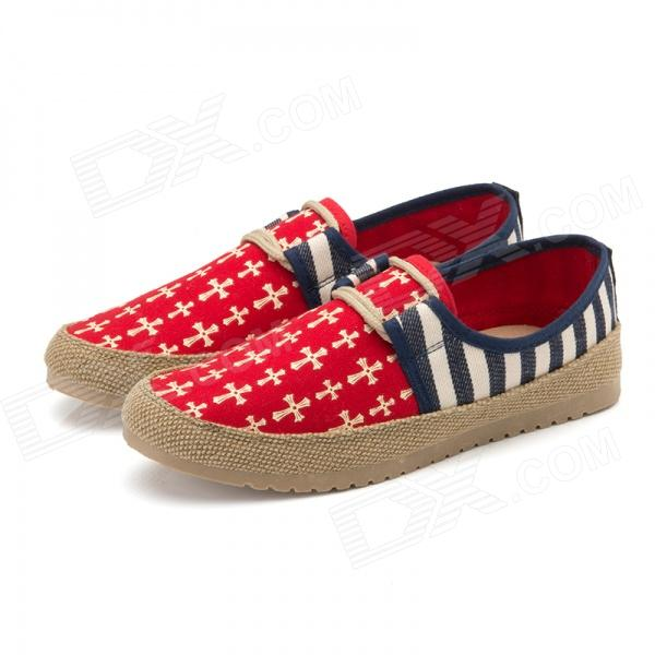 Casual Breathable Driving Canvas Shoes - Red + White (EUR Size 43)