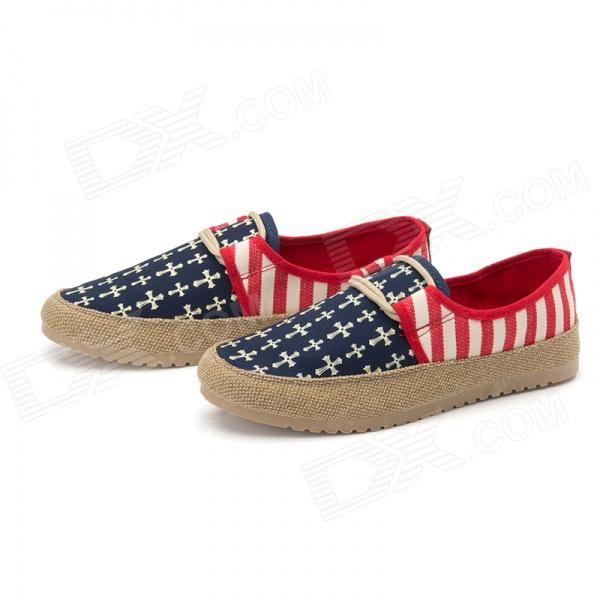 Driving Casual  Breathable Canvas Shoes - Red + Blue (EUR Size 44)