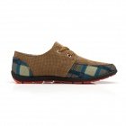 Casual Lace-up Canvas Shoes - Brown + Dark Grey (EUR Size 44)