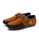 Lace-up PU Casual Shoes - Brown + Black (EUR Size 43)