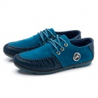 Lace-up PU Casual Shoes - Blue + Black (EUR Size 43)