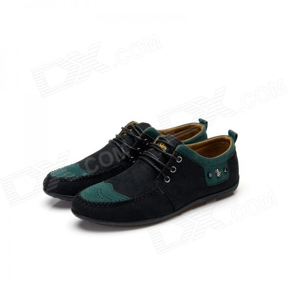 Skull Style Lace-up Casual Canvas Shoes - Black + Green (EUR Size 43)