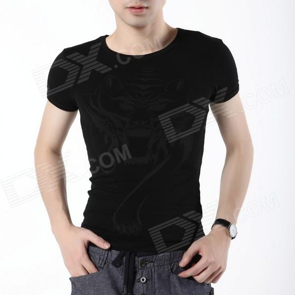 FENL F870-2 Men's Cotton Tiger Pattern Short Sleeved Round Neck T Shirt - Black (Size M)