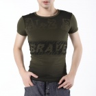 FENL J910-1 Men's Fashionable Slim Short Sleeved Round Neck Cotton T-Shirt - Army Green (Size XXL)