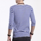FENL Men's Slim Round Neck Three-Quarter Sleeve T-Shirt Tee - Blue + White (Size XXL)