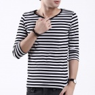 FENL Men's Fashionable Slim Round Neck Three-Quarter Sleeve T-Shirt Tee - Black + White (Size L)