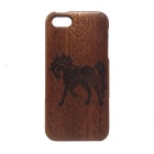 Horse Pattern Detachable Protective Wood Back Case for IPHONE 5 / 5S - Wood + Brown