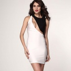 LC2983 Sexy Low-cut Back Bodycon Midi Dress - White + Black