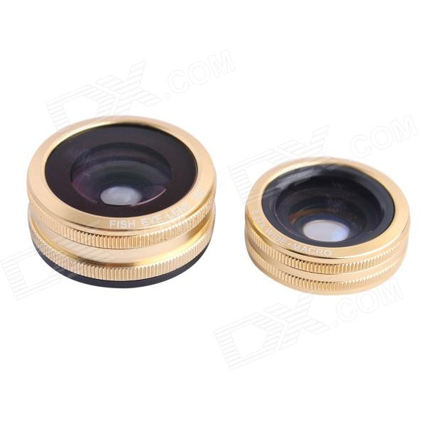 C Metal Clip 3-in-1 Fisheye + 0.67X Wide-Angle + Macro Lens for IPHONE / IPAD / Cellphone - Golden multifunction 3 in 1 fisheye wide angle macro lens for iphone ipad more black