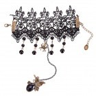 eQute BPEW34C2 Retro Elegant Black Lace Bracelet w/ Butterfly Ring Jewelry Set - Black + Antique Bra