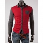 Men's Fashionable Contrast Color Stitching Long Sleeve Polo Shirt - Red + Gray  (Size XL)