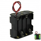DIY 12V 8-Slot / 8 x AA Battery Double Deck / Back to Back Holder Case Box with Leads - Black