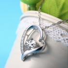 EQute S925 Sterling Silver Oval Heart Shape Pendant Shiny Zircon Necklace for Women
