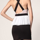 Eyelash Lace Peplum Dress - White + Black (Size L)