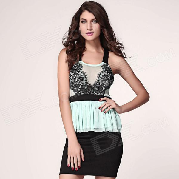 Eyelash Lace Peplum Dress - Green + Black (Size L) - DXDresses<br>This delightful sweet style will make you sexy and flirty! This super cute dress will have you stepping out with confidence! Definitely a must have.<br>