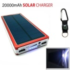 Universal Dual-USB 16000mAh Solar Energy Powered Li-polymer battery Power Source Bank - Red + White