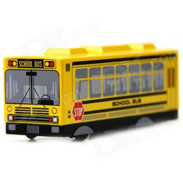 Cute School Bus Style Mute LED Electronic Alarm Clock - Black + Yellow (2 x AAA)