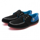 Men's Fashionable Casual Breathable Canvas Shoes - Black + Blue (EUR Size 43)