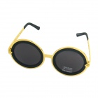 OUMILY Unisex Retro Style Round Lens Sunglasses - Golden + Black