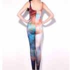 Elonbo Women's Colorful Stars Style Digital Painting High Waisted Stretchy Slim Jumpsuit Bodysuit