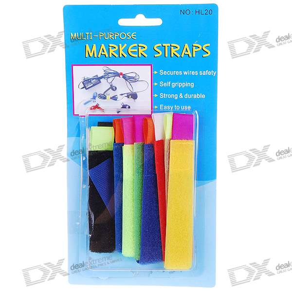 Colorful Cable Velcro Binding Band (8-Piece Pack)