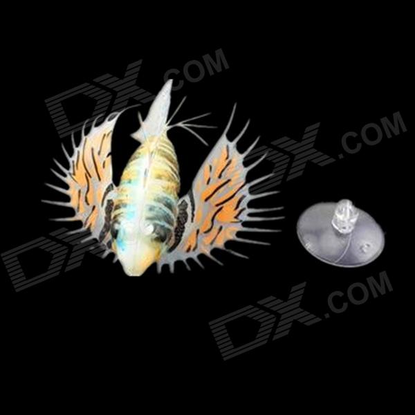 E4YK Realistic Silicone + Plastic Lionfish w/ Suction Cup for Fish Tank - Multicolored