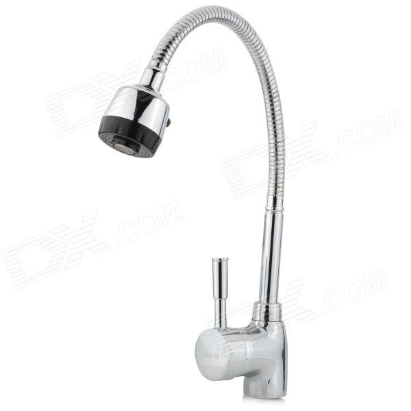 Seloog SL220006 Universal Chrome-plated Brass Kitchen Tap Faucet - Silver kitchen chrome plated brass faucet single handle pull out pull down sink mixer hot and cold tap modern design