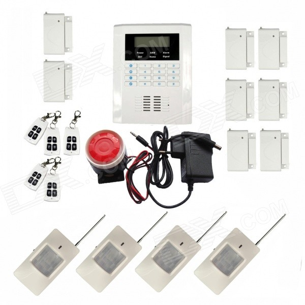 "Home Security Wireless Quad-band GSM 2.4"" LCD Screen Anti-theft Electronic Alarm - White"