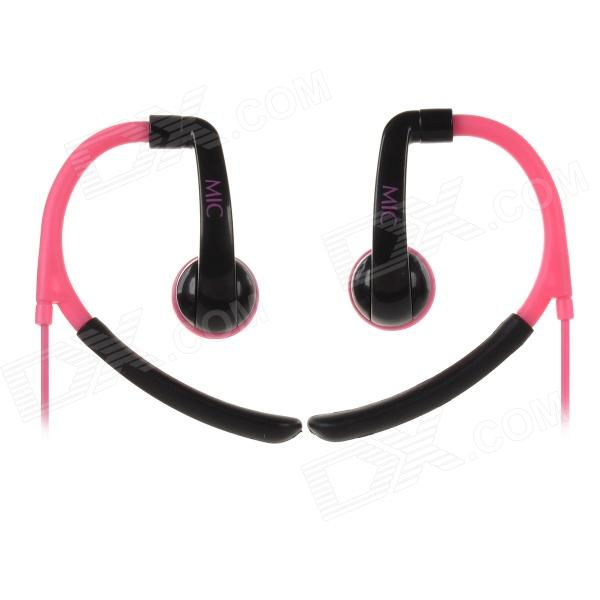 IN-042 Universal 3.5mm Jack Wired Earhook Headphone w/ Microphone for Cellphone - Deep Pink