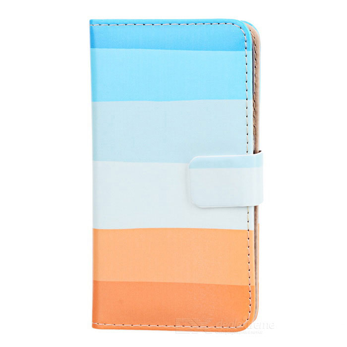 Protective Flip Open PU Leather Case w/ Stand + Card Slots for Samsung Galaxy S5 - Mutil-colored