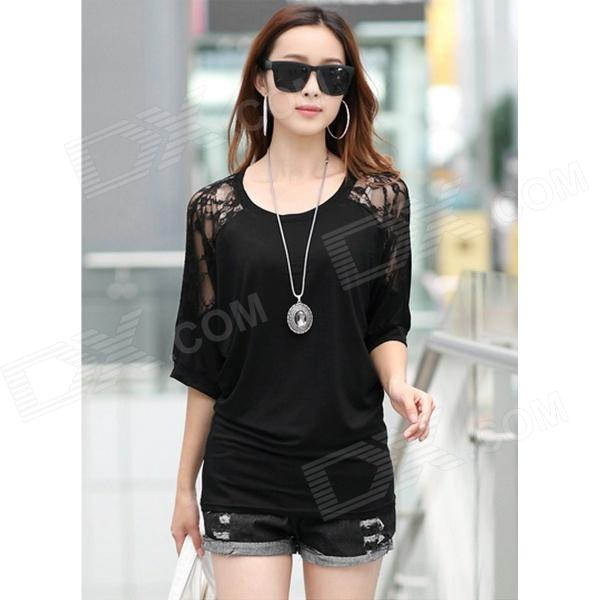 Stylish Women's Cotton + Lace Top w/ Batwing Sleeves - Black (L)
