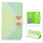 Ladies' Bowknot Bag Style Protective PU Leather Case for Samsung Galaxy Note 3 - Green + White