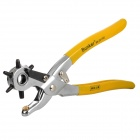 Handy Durable Leather Belt Holder Puncher Tool - Yellow + Silver